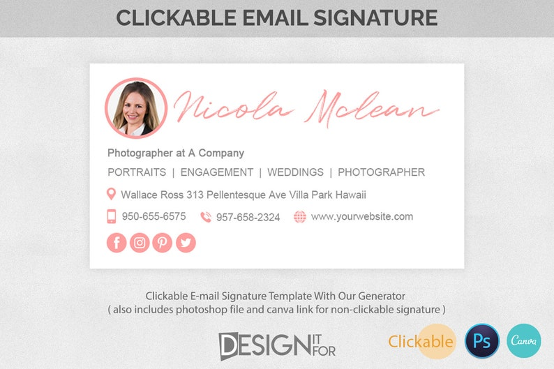 Email Signature Template Clickable Gmail Outlook Hotmail image 0