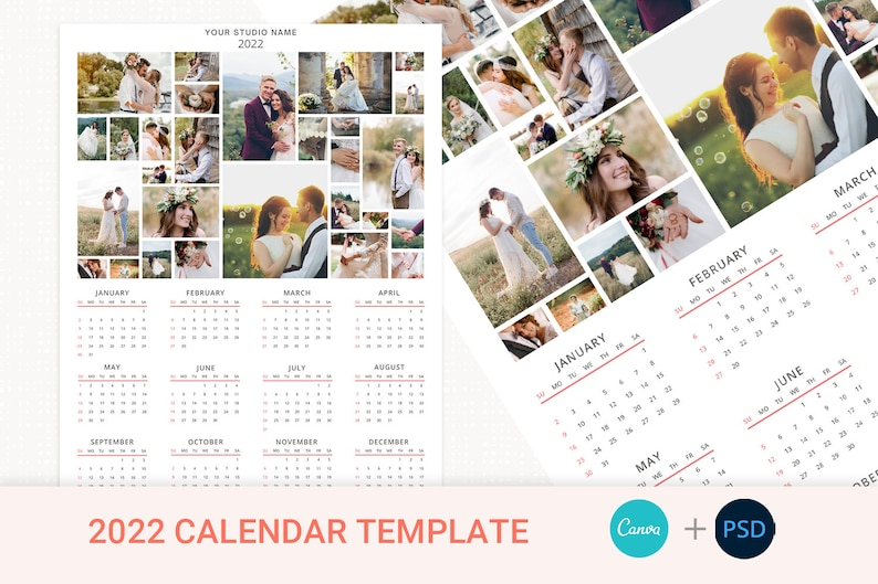 2022 Wall Calendar Template Year Calendar Photo Calendar image 1