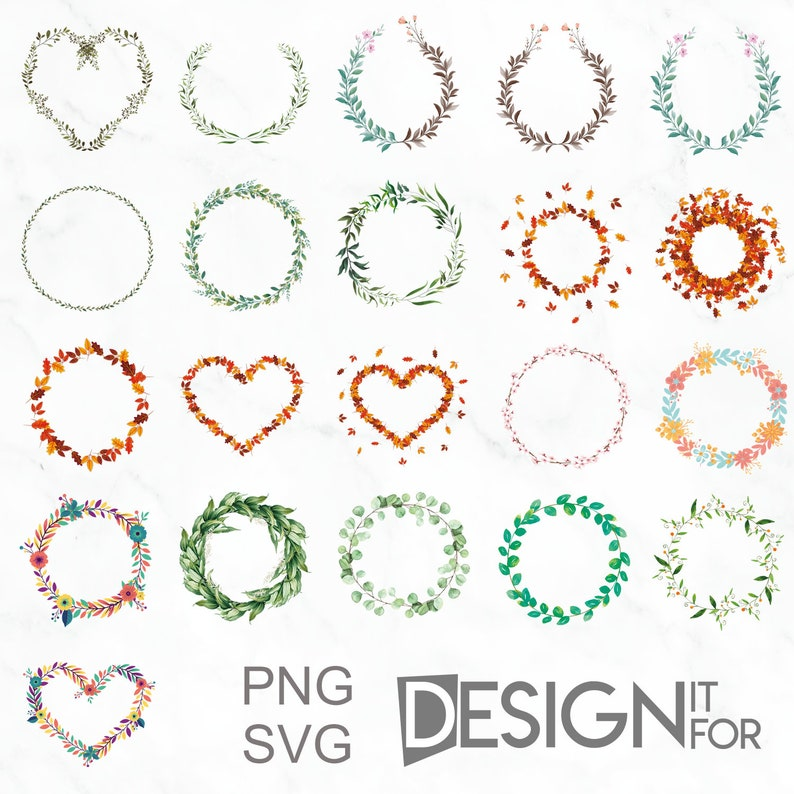 Floral Greenery Wreath Svg Png Cliparts Watercolor Flower image 0