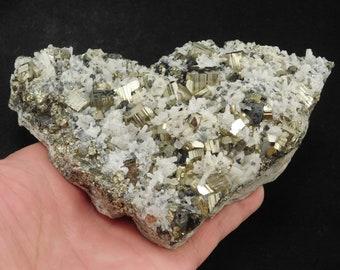A BIG Rhombic SPHALERITE Crystal Cluster on Druzy Calcite Peru 766gr