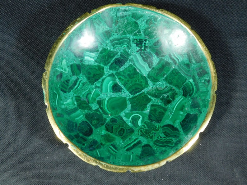 A Deep Green From the Congo 174gr Malachite Bowl With a Super Neat Pattern