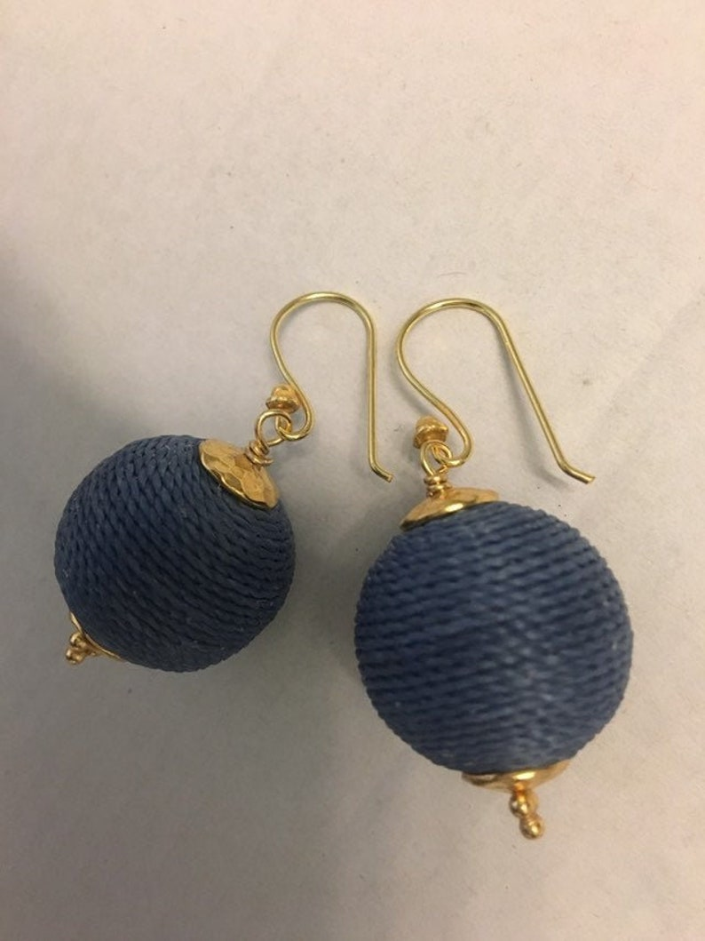 Denim Boho Ball Earrings