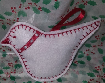 Homemade felt embroidered red Scandinavian bird Christmas tree decoration made with love within the UK.