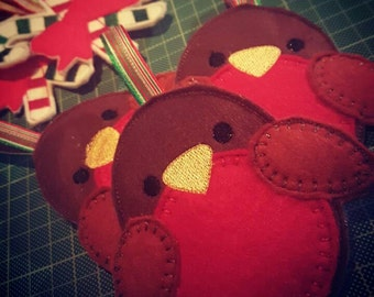 Homemade felt embroidered red Robin  christmas tree decoration made with love within the UK.