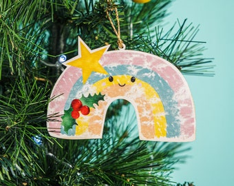 Pastel Rainbow Christmas tree decoration, Holly bauble, pastel rainbow bauble, thanks giving rainbow, plywood Christmas decoration,
