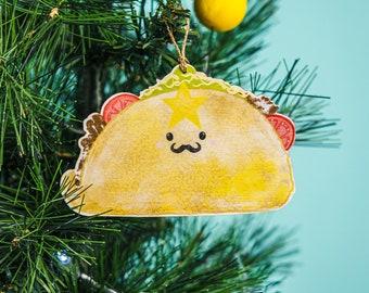 Christmas Mexican Taco ornament, fiesta decoration, Mexicana Christmas, vegetarian, fiesta tea towel gift,