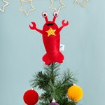 Lobster, tree topper, Christmas, star, felt decoration, red, kitsch, Christmas dec, gold, under the sea, little mermaid,