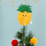 Pineapple Christmas tree topper, decoration, fruit, kitsch, glitter, tropical gift, pineapple gift, yellow, bauble, gold, quirky Xmas, tree