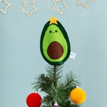 Avocado Christmas tree topper, food ornament, funny food, vegan Christmas, kitsch Christmas, felt fruit, avocado decor, sparkly decoration