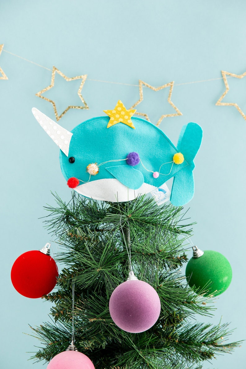 Narwhal tree topper Christmas ocean under the sea felt image 0