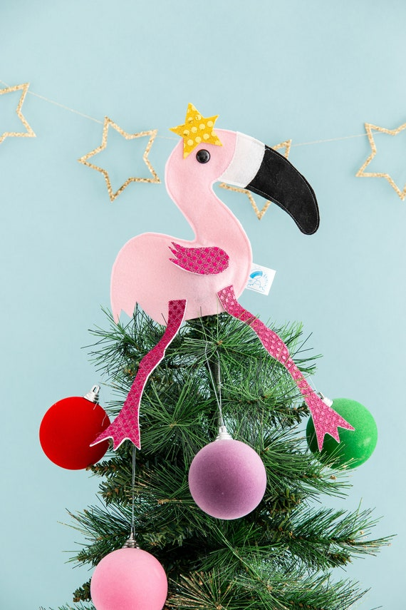 size 40 795da 10290 Flamingo, Christmas tree topper, pink decor, bird decoration, Christmas  decor, sparkle, kitsch Christmas, felt, bauble, flamingo gift, gold