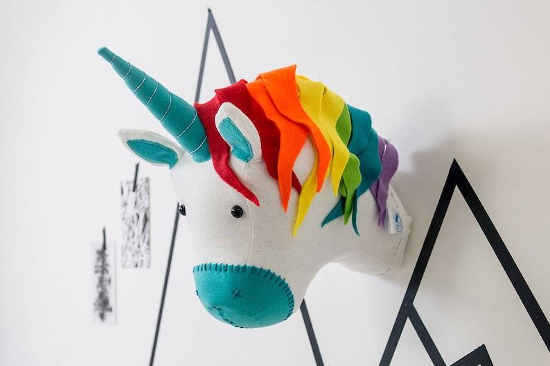 Rainbow Unicorn playroom decor unicorn head animal head image 0