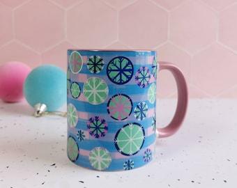 Christmas Winter snow flake mug, gingham pastel mug, hot chocolate mug, pink Christmas mug, pastel snowflake design, stocking mug, winter