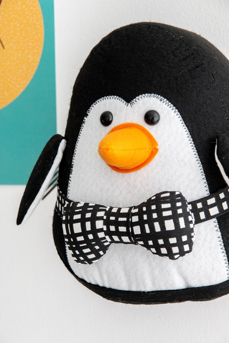 Felt stuffed penguin wall decor animal mount faux image 0