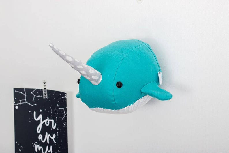 Felt narwhal head sea nursery kids decor animal mount image 0