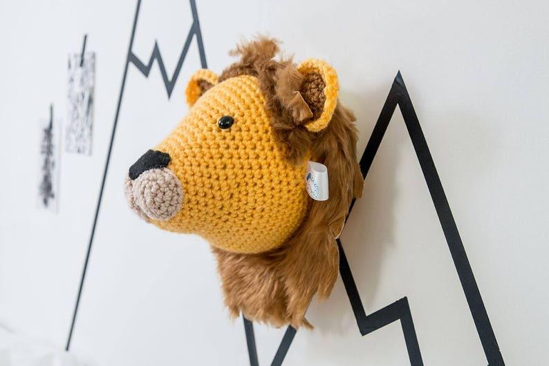 Nursery wall art Crochet Lion taxidermy  lion wall lion image 0