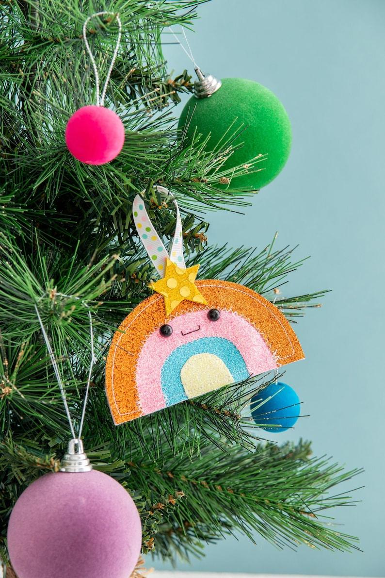 Rainbow Christmas glitter decor funny ornament rainbow image 0