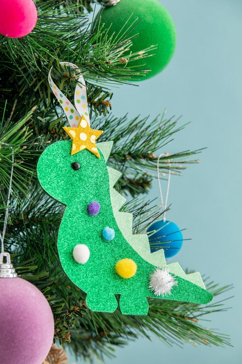 Dinosaur decoration Christmas decoration glitter decoration image 0