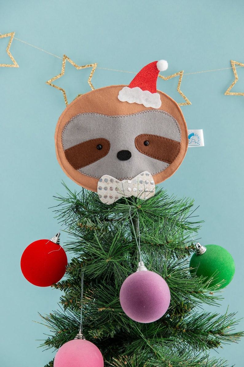 Sloth Christmas tree topper Christmas decor sloth lover image 0