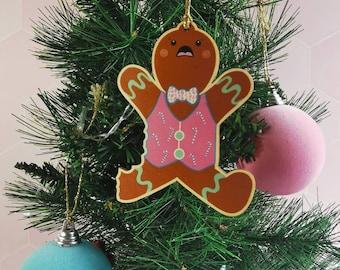 Bitten gingerbread Christmas decoration, wooden Christmas decoration, festive food, festive biscuit decoration