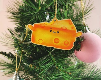 Christmas wooden cheese slice decoration, quirky Christmas bauble, cheese lover decoration, wooden Christmas decoration