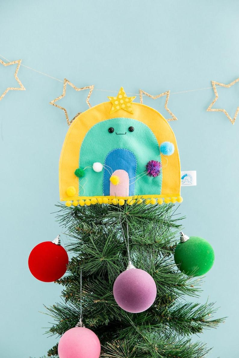 Rainbow tree topper Christmas rainbow tree decor felt image 0