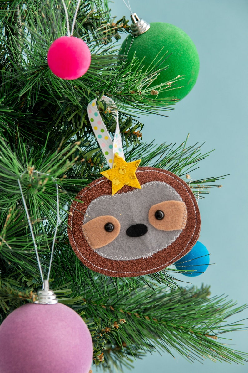 Sloth christmas decoration playful ornament sparkly image 0