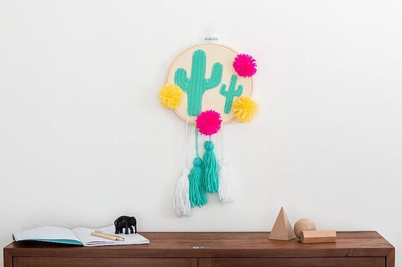 Cactus embroidery pom pom wall art Plant wall art wall image 0