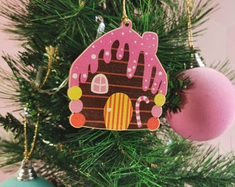 Gingerbread house decoration, festive sweets, wooden festive decoration, quirky Christmas bauble, gingerbread men, pink decoration, tree dec
