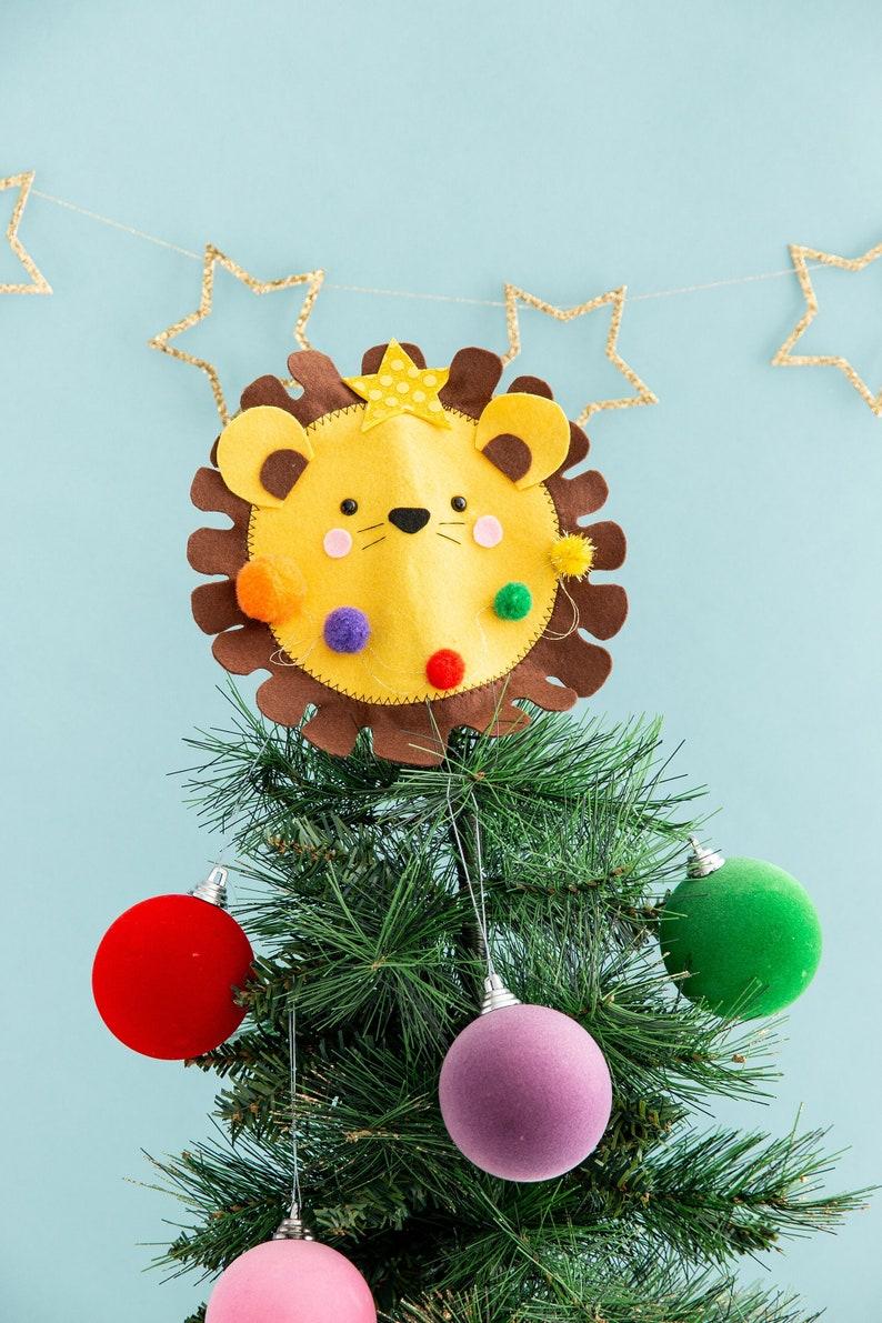 Lion christmas tree topper felt lion funny Christmas animal image 0