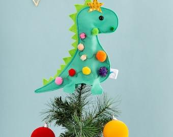 Dinosaur tree topper, christmas tree topper, pom pom, animal tree topper, unique tree decoration