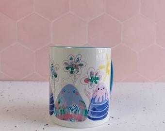 Cute pastel mountain mug, walkers mug, hiking gift, van life mug, nature ceramic mug, botanical flower mug, kawaii design, mountain climbing