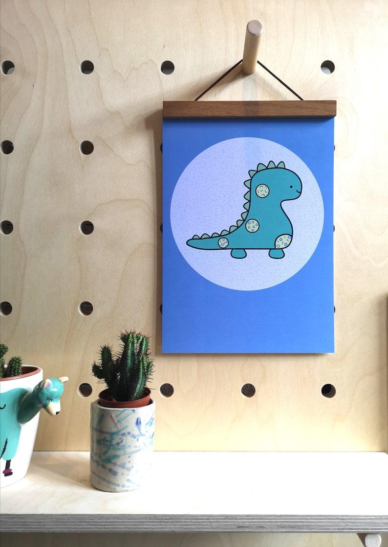 Dinosaur nursery art mint decor dinosaur illustration baby image 0