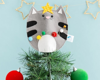 Cat Christmas tree topper, Cat lady gift, kitsch decoration, Christmas tree, cat decoration