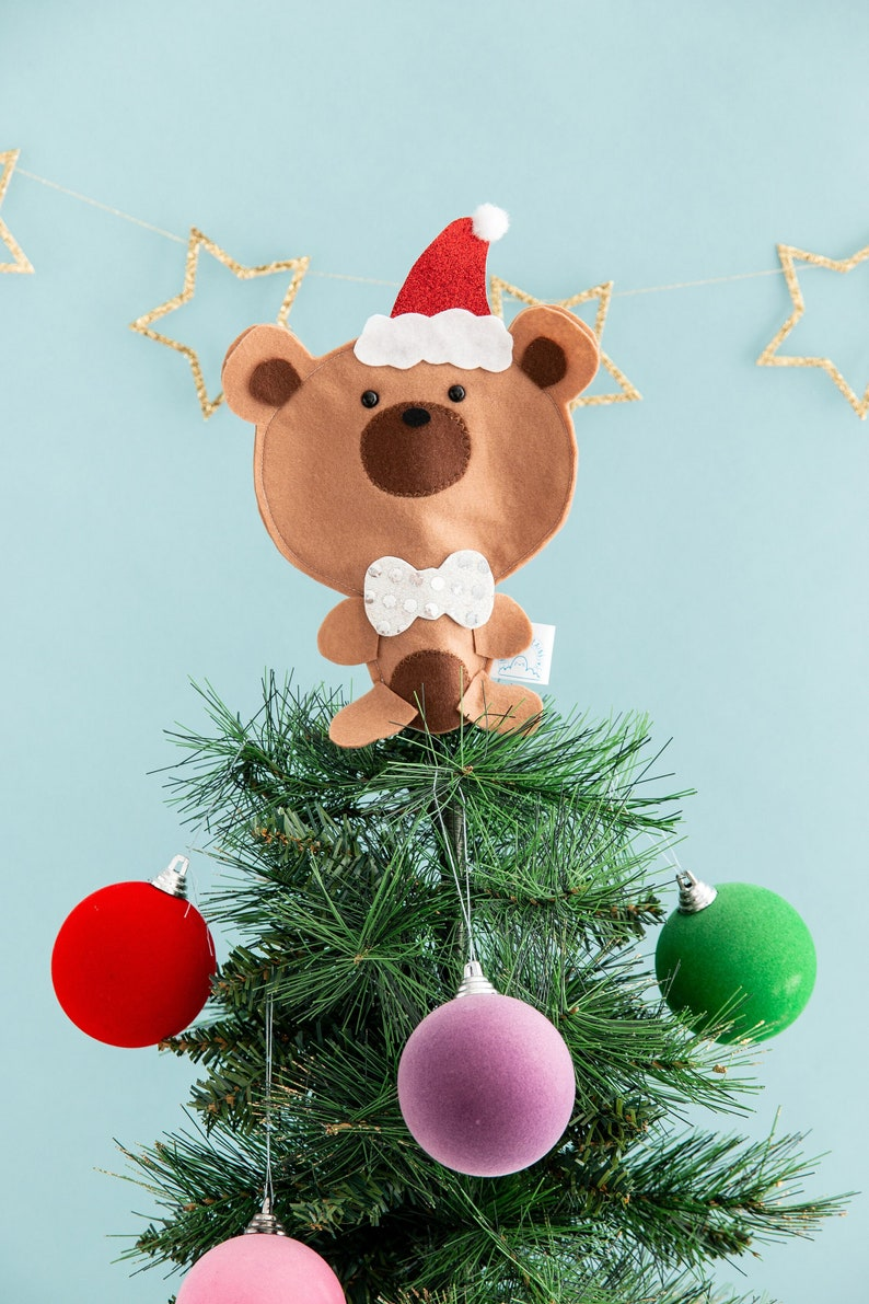 Bear tree topper funny Christmas Christmas decor kawaii Be image 0