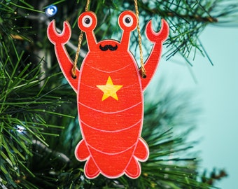 lobster Christmas tree ornament, quirky Christmas decoration, festive kitsch, red lobster Christmas bauble, animal Christmas decoration