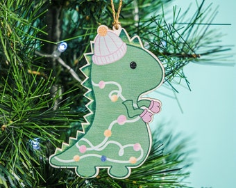 Christmas dinosaur tree decoration, Green Christmas ornament, winter dinosaur gift, kitsch Christmas, letter box gift, thanks giving