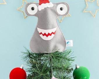 Shark Christmas tree topper, kitsch Christmas, Shark decoration, festive, shark gift, hammerhead shark, marine biologist, funny shark decor