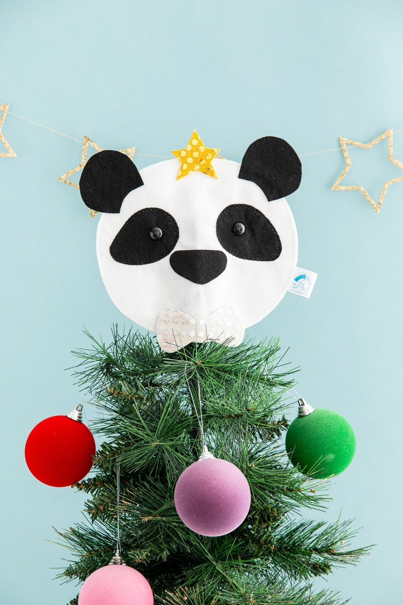 Panda tree topper Christmas decor kawaii panda funny image 0
