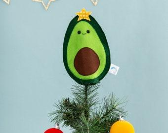 Avocado Christmas tree topper, food ornament, funny food, vegan Christmas, kitsch Christmas, felt fruit, avocado decor, sparkly decoration