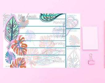 Leaf weekly desk planner, tear off pad, desk pad, A4 organiser, plant lover gift, undated planner, notepad organiser, plant stationery