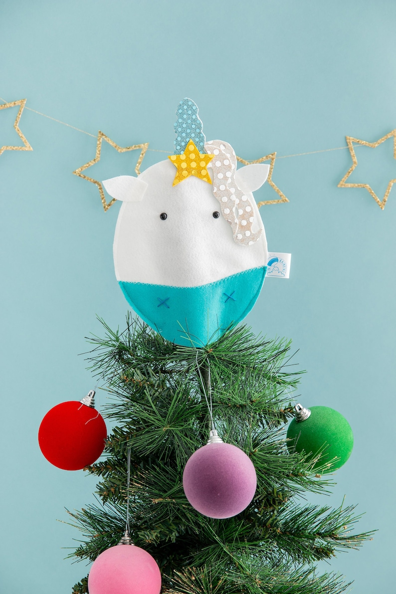 Unicorn tree topper first Christmas cute unicorn Christmas image 0