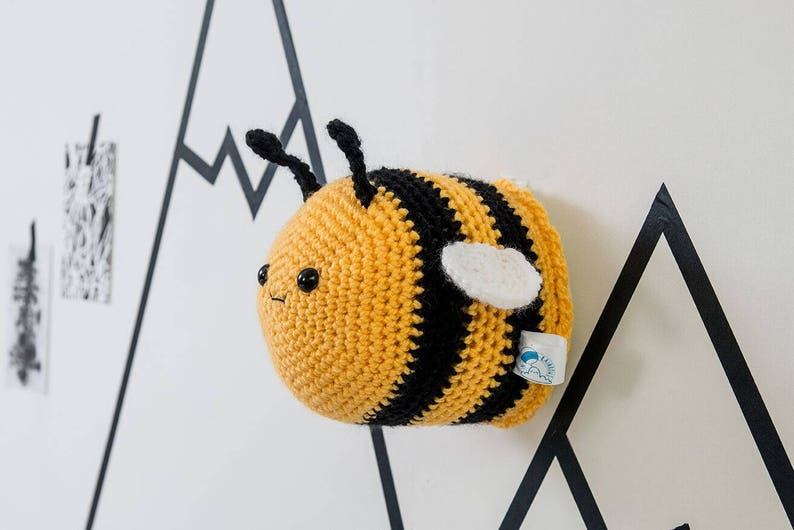 Bumble bee nursery faux taxidermy crochet bee kids decor image 0