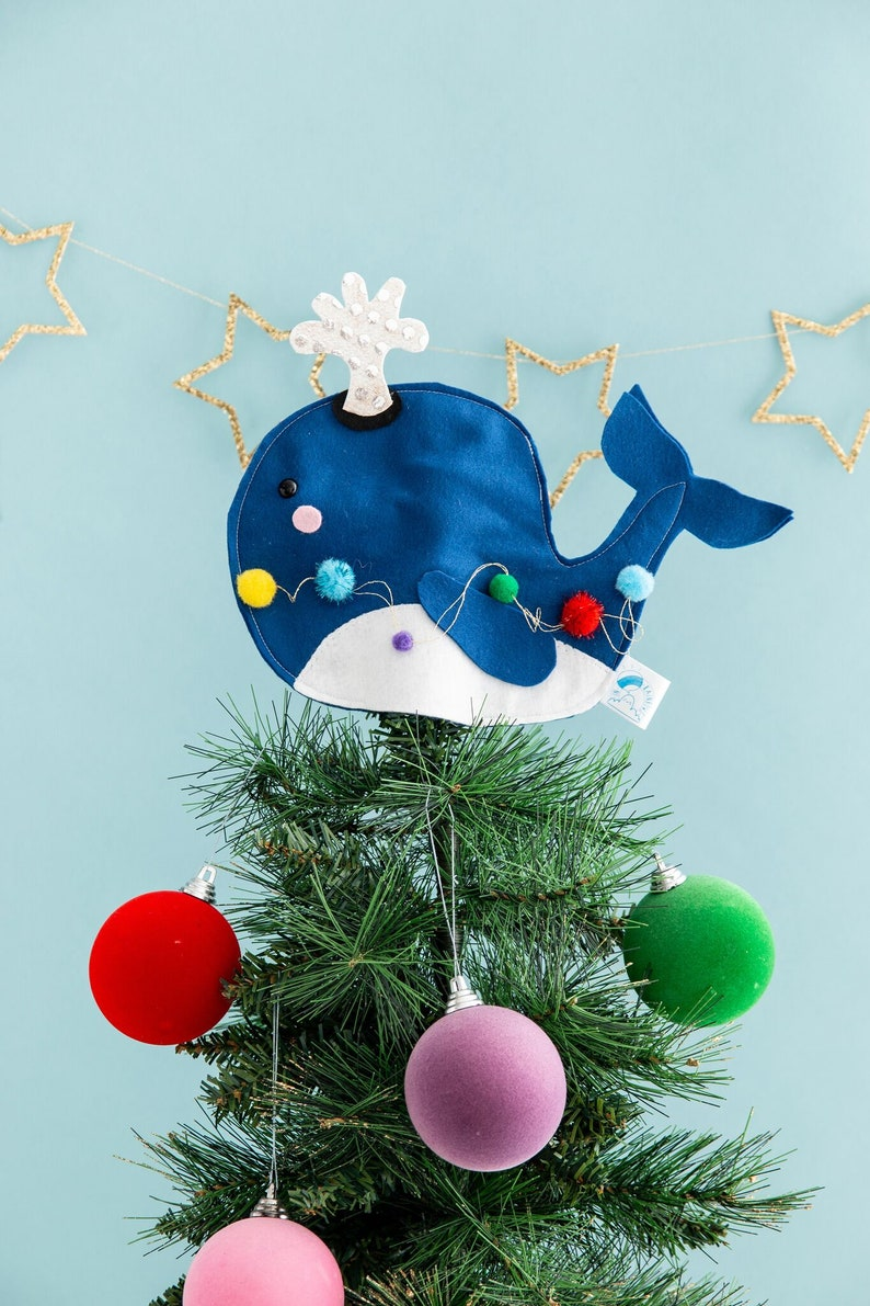 Whale Christmas tree topper decor under the sea felt whale image 0