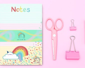 A5 tear off rainbow notepad, kawaii cloud and rainbow notepad, A5 list pad, stationery lover gift, organised notepad, colourful desk notepad