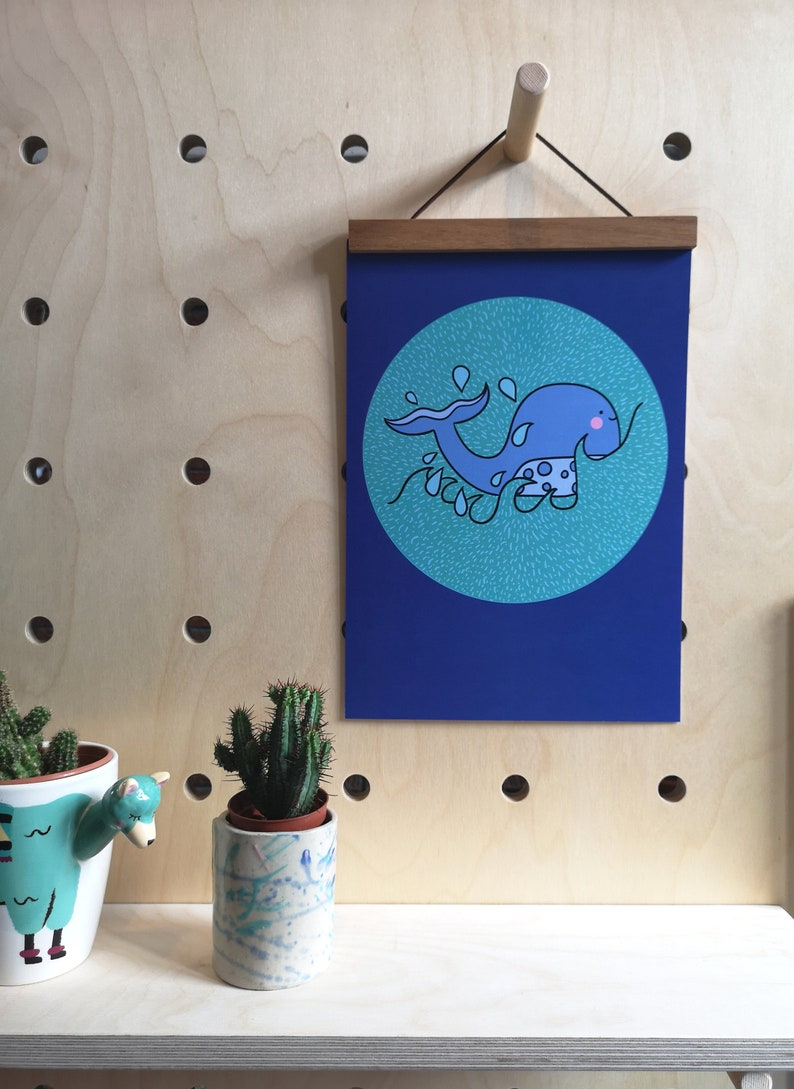 whale print ocean wall decor nautical print under the sea image 0
