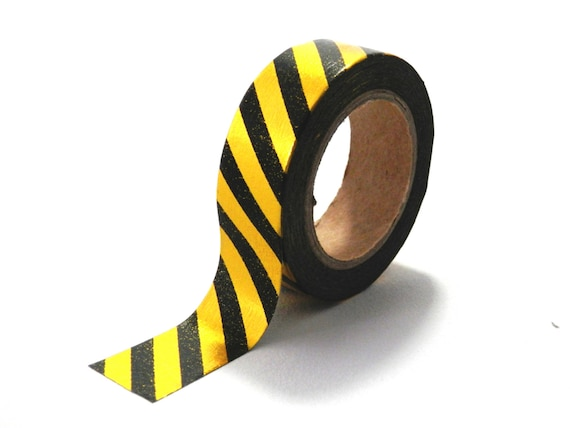 Thick Black and Gold Stripe Washi Craft Tape 10m x 15mm