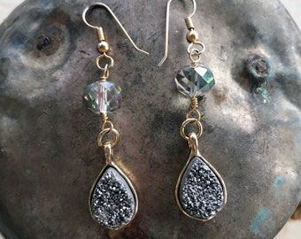 Gold and gray druzy earrings