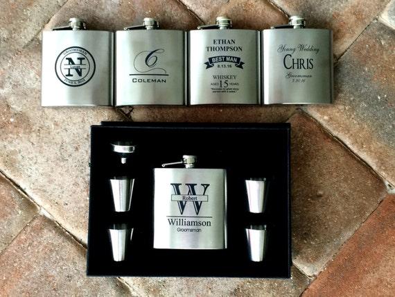 30c797164259e Groomsmen Gift, Hip Flask Set, 6 oz Stainless Steel Flask, Groomsmen Gifts,  Custom Engraved Flask, Best Man Flask Set, Mens Flask Gift Set