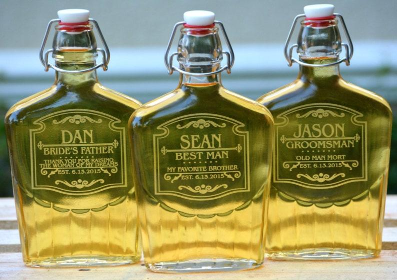 Personalized Groomsman Glass Flask Gift Customized Scotch image 0